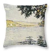 View Of The Seine At Herblay     Throw Pillow
