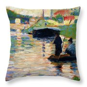 View Of The Seine - Digital Remastered Edition Throw Pillow