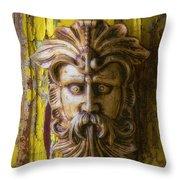 Viking Mask On Old Door Throw Pillow