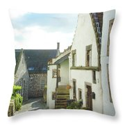 village cobbled lane in Culross Throw Pillow