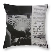 Vintage Alitalia Airline Advertisement Throw Pillow