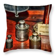 Vintage Apothecary Pharmacist Weights And Scale Throw Pillow