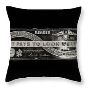 Vintage Associated Master Barber Sign Black And White Throw Pillow