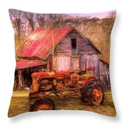 Vintage At The Farm Watercolors Painting Throw Pillow