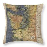 Vintage Auto Map Western Washington Olympic Peninsula Hand Painted Throw Pillow
