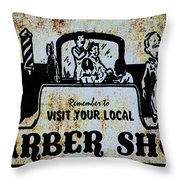 Vintage Barber Sign From The 1950s Throw Pillow