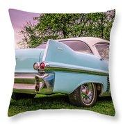 Vintage Blue Caddy American Vintage Car Throw Pillow