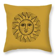 Vintage Celestial Sun Face Throw Pillow
