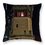 Vintage Chicago Bridge Tower At Night Throw Pillow