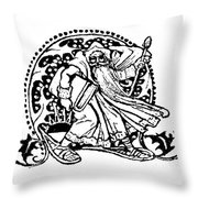 Vintage Christmas Card  Santa Claus By Walter Crane Throw Pillow