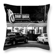 Vintage Dairy Queen At Night Throw Pillow