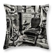 Vintage Dentist Office And Drill Black And White Throw Pillow