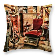 Vintage Dentist Office And Drill Throw Pillow