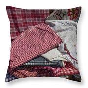 Vintage French Textiles Throw Pillow