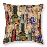 Vintage Glass Bottles Collage Throw Pillow
