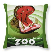 Vintage Hippo Antwerp Belgian Visit The Zoo Ad Poster Throw Pillow For Sale By Tina Lavoie