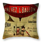Vintage Hot Air Balloon Throw Pillow