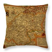 Vintage Map Of Belgium And Flanders Throw Pillow