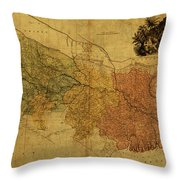 Vintage Map Of Bengal Throw Pillow