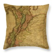 Vintage Map Of Columbia 1818 Throw Pillow