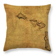 Vintage Map Of Hawaii 1837 Throw Pillow