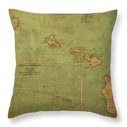 Vintage Map Of Hawaii Throw Pillow