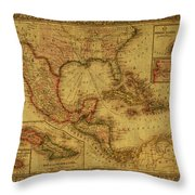 Vintage Map Of Mexico Throw Pillow