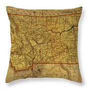 Vintage Map Of Montana Throw Pillow