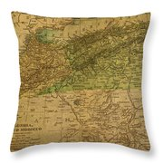 Vintage Map Of North Africa Including Morocco Algeria And Tunisia 1901 Throw Pillow