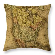 Vintage Map Of North America 1858 Throw Pillow