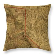 Vintage Map Of Northern California Throw Pillow