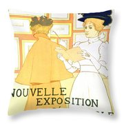 Vintage Poster Advertising A Exhibition At The Salon Des Cent, 1896  Throw Pillow
