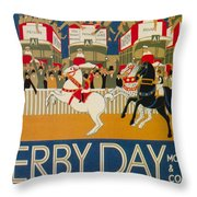 Vintage Poster - Derby Day Throw Pillow
