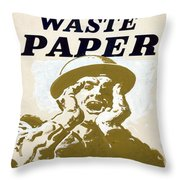 Vintage Poster - I Need Your Waste Paper Throw Pillow