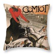 Vintage Poster - Motocycles Comiot Throw Pillow