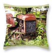 Vintage Rusted Tractor Throw Pillow