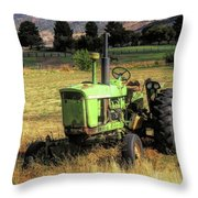 Vintage Tractor In Honeyville Throw Pillow by David King