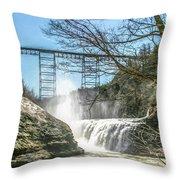 Vintage Train Trestle With Waterfalls Throw Pillow