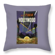 Vintage Travel Poster - Hollywood Throw Pillow