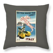 Vintage Travel Poster - Italy Throw Pillow