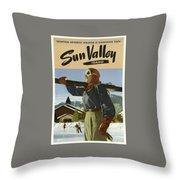 Vintage Travel Poster - Sun Valley, Idaho Throw Pillow