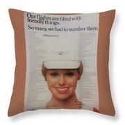 Vintage United Airlines Ad Throw Pillow