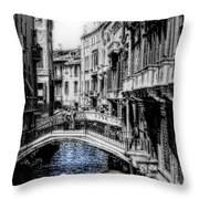 Vintage Venice Canal Throw Pillow