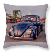 Vintage Vw Beetle At Sunset Throw Pillow