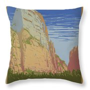 Vintage Zion Travel Poster Throw Pillow