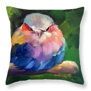 Violet Breasted Roller Bird Throw Pillow