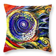 Violet Fish On Red And Yellow Throw Pillow