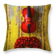 Violin And Heart Wreath Throw Pillow