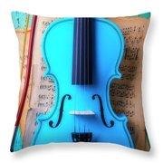 Violin Blues Throw Pillow