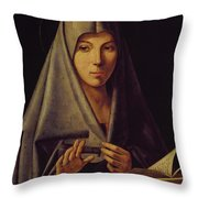 Virgin Annunciate By Messina Throw Pillow